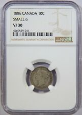 1886 Canada Silver 10 Cents Small 6 NGC VF-30 10c