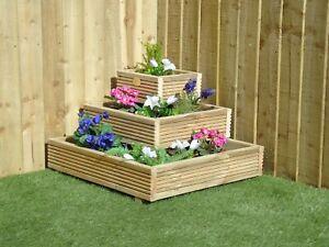 Nook Corner Steps 3 Tier Decking Garden Planter - Plant Pot Flower Herb