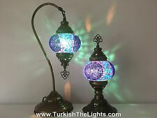 Handmade Turkish Mosaic Lamp Set,  Swan Neck  & Table Lamp