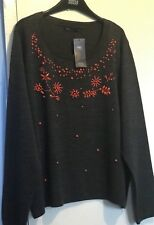 Marks And Spencer Collection Women's Grey Mix Embroidery Jumper Size 22.