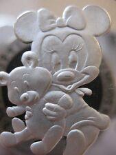 1-OZ .999 SILVER MICKEY& MINNI'S BABY GIRL 1ST TREASURE'S CHRISTMAS COIN + GOLD