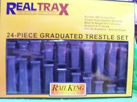 MTH RealTrax O Gauge 24-Piece Plastic Graduated Trestle System Set # 40-1033 New