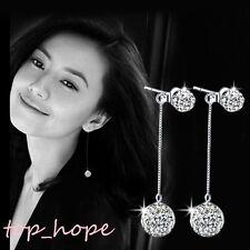 1Pair Stylish Women's Silver Full Crystal Ball Ear Stud Long Dangle Hook Earring