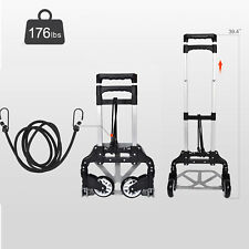 Aluminium Portable Luggage Cart Folding Dolly Push Hand Truck Collapsible 176lbs