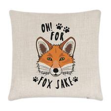 Oh For Fox Sake Linen Cushion Cover Pillow - Funny Sake Joke Animal