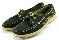 Sperry Top Sider Bluefish $90 Women's Boat Shoes Size 7 Leopard Print Black
