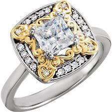 1.10 ct Princess & round Diamond Halo Engagement Wedding 14k Two tone Gold Ring