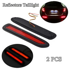 NEW 2X Red Lens LED Car Rear Bumper Reflectors Taillight Brake Fog Warning Light