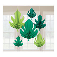 6 X Hawaïen Vert Palmier Forme Feuille pendant Ventilateurs Décoration de Fête