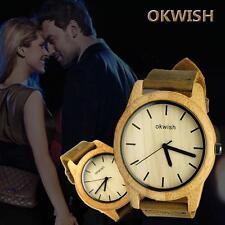 OKWSWS Women Men Watches Wooden Quartz Leather Analog Fashion Wrist Watch *e