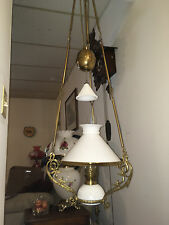 ANTIQUE FRENCH HANGING OIL LAMP, WEIGHTED, ADJUSTABLE, MILK GLASS, BRASS