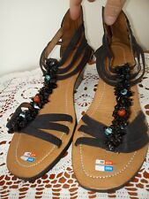 Sz 40 Black Sandals with Wedge Heel - NWT