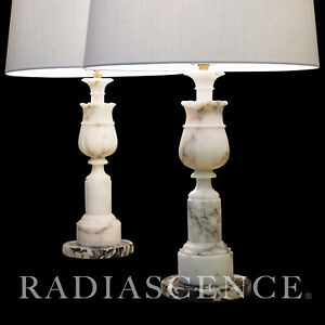 PAIR LG NEO CLASSIC MARBLE FRENCH COLUMNS HOLLYWOOD REGENCY MODERN lamps 1950s