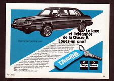1984 CHRYSLER Classe E Vintage Original small Print AD -  AutoBail black car art