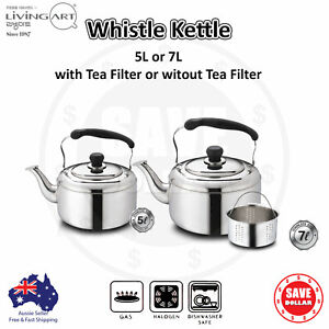 Kitchen Large Whistling Kettle Stainless Steel Tea Pot Camping Stove Top 5L 7L