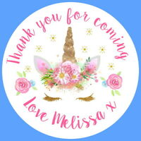 PERSONALISED GLOSSY GOLD/ PINK  UNICORN  BIRTHDAY PARTY BAG SWEET CONE STICKERS