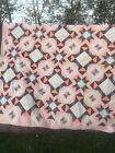 Vintage Quilt Top Star Pattern Orange Brown White 93 X 93 Quilt Top Only