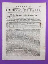 Lob der Buffon 1788 Histoire Natürliche Selten Zeitung De Paris Theatre Français