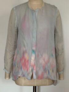 BNWOT Designer ELIE TAHARI Watercolour Pure Silk Shirt - Medium