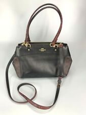 Coach Brooke Signature Brown & Pebbled Black Carryall Satchel Handbag