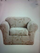 Sure Fit Stretch Forest Two Piece Chair Slipcover – Beige/Cream NIP