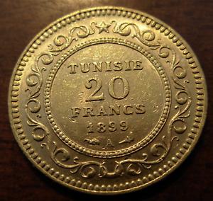 Tunisia 1899 A Gold 20 Francs AU - UNC