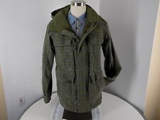 VGUC  Burton Ronin Green plaid hooded-Ski-Snowboard-Jacket Shell Parka Sz XS