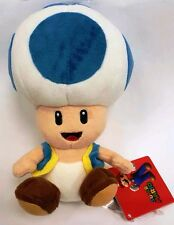 "Official NEW Blue Toad Mushroom Plush 7"" Nintendo Super Mario Bros Stuffed Toy"