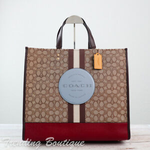 NWT Coach C1548 Dempsey Tote 40 in Jacquard with Stripe and Coach Patch