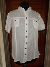 Chemisier coton blanc manches courtes transparent BLANC DU NIL taille 4 42/44