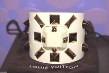 Louis Vuitton Ivoire Rendez-Vous HUGE Bangle Cuff Stud Spike Leather *LIMITED*!!