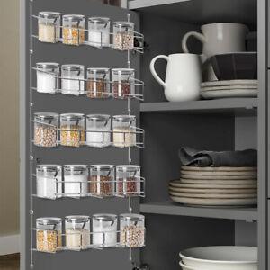 5 Tiers Kitchen Spice Rack Organizer Storage Shelf Pantry Wall Hanging Holder UK