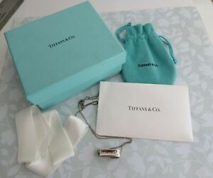 "Tiffany & Co. Sterling Silver 1837 Loop Pendant 18"" Necklace Tiffany Pouch & Box"