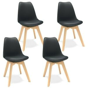 4 Set MODERN Style Mid Centaury DINING CHAIR Daw Wooden legs Kitchen Room Living