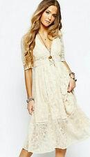 $168 Free People Mountain Laurel Lace Crochet Dress Almond Beige Ivory 4 S NWT