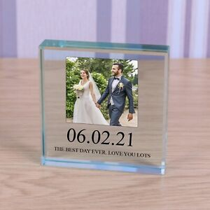 """Photo Cut Glass Square Plaque, """"New Daddy"""" Personalised Gift Keepsake"""