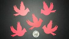 20 LARGE 2 1/4 INCH RED CARDINAL BIRD DIE CUTS PUNCHES CONFETTI 5 SHADES OF RED