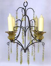 """Vintage Wrought Iron Candle Chandelier Metal Hanging Candelabra 19"""" x 14"""""""