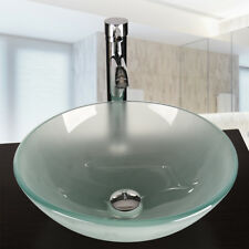 Bathroom Round Glass Vessel Sink Frosted Basin Stainless Drain Faucet Combo