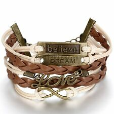 Vintage Love Infinity Charm Braided Leather Multi-layer Cuff Bracelet Wristband