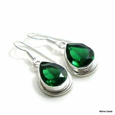 Green Chrome Diopside Quartz Gemstone 925 Silver Jewelry Party Earring Pair 2801