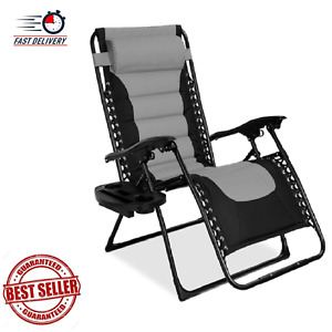 Best Choice Products Oversized Padded Zero Gravity Chair- Gray