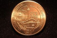 """Worlds Fair Seattle 1962 $1 Trading Coin """"America's Space Age Fair"""" Excellent"""