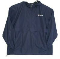 Champion Mens 2XL Quarter Zip Hooded Pullover Windbreaker Blue NWT