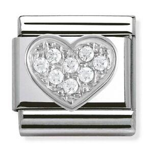 Nomination CLASSIC Silvershine White CZ Heart Charm 330304/01 rrp £29.00