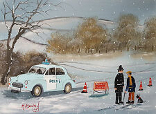 "MAL..BURTON ORIGINAL ART OIL PAINTING "" ROAD CLOSED POLICE --MORRIS MINOR"