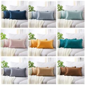 Rectangle Velvet Pom Pom Sofa Cushion Cover Waist Pillow Cover Pillowcase