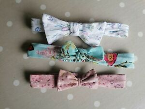 X3 Baby Girls Fabric Head Bands 9-12 Months Elasticated And Fasten At Back