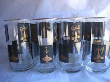 8 Retro Black  Gold Rx Pharmacy Drinking Glasses Medical Pharmacy Caduceus Libbe