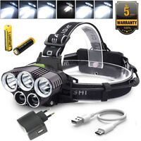 50000LM LED Headlamp 5 XM-L T6 USB Rechargeable Light Head Torch 2x Battery